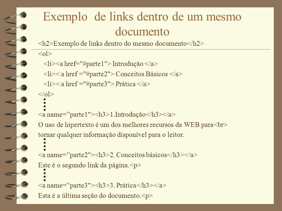 Exemplo de links dentro de um mesmo documento