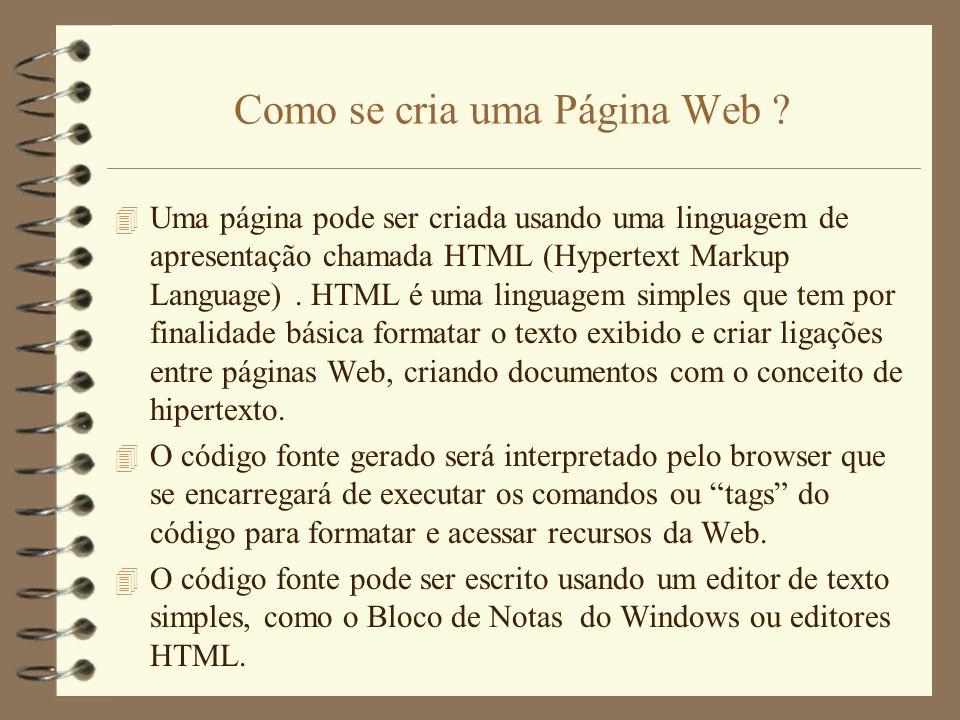 Como se cria uma Página Web