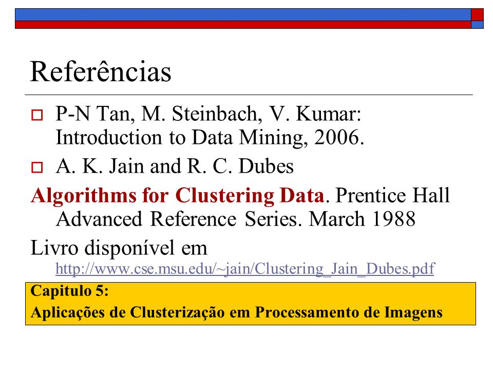 Referências P-N Tan, M. Steinbach, V. Kumar: Introduction to Data Mining, 2006. A. K. Jain and R. C. Dubes.