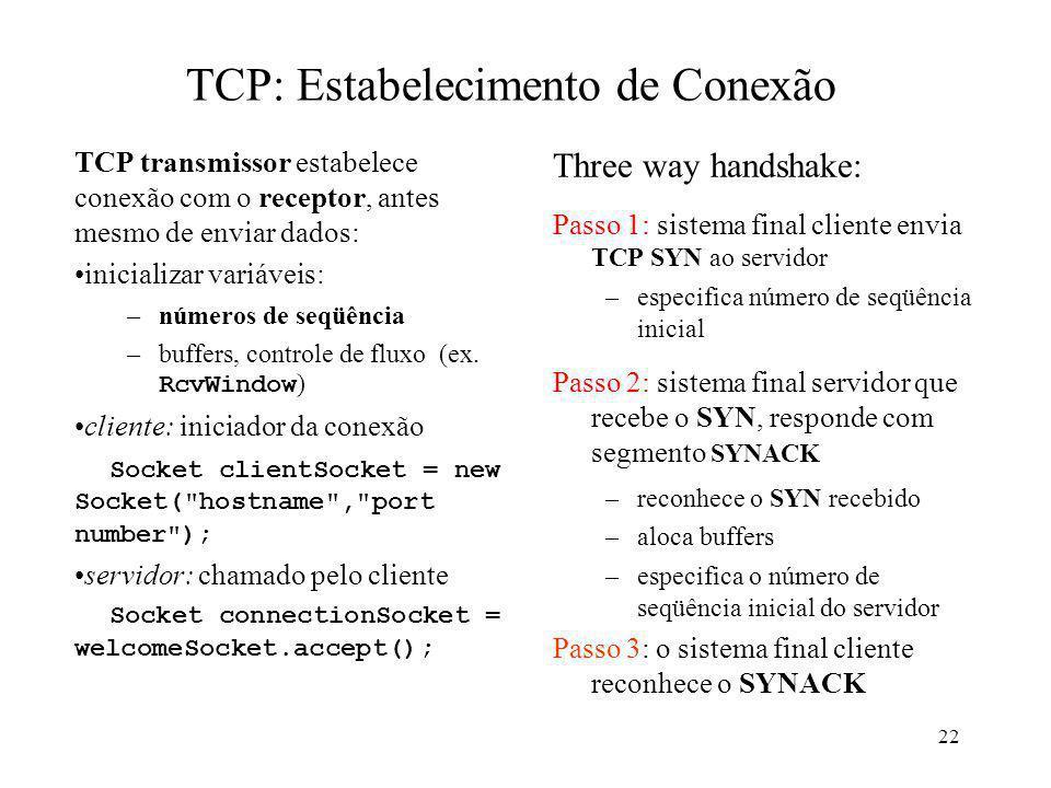 TCP: Estabelecimento de Conexão