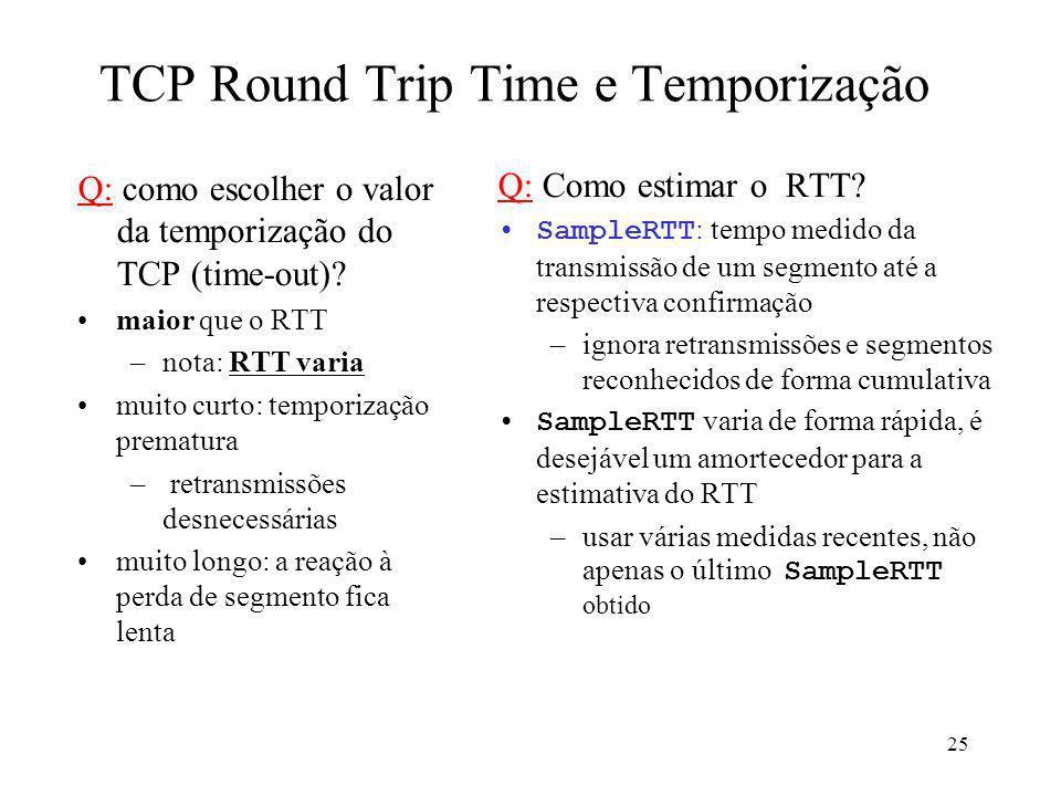 TCP Round Trip Time e Temporização