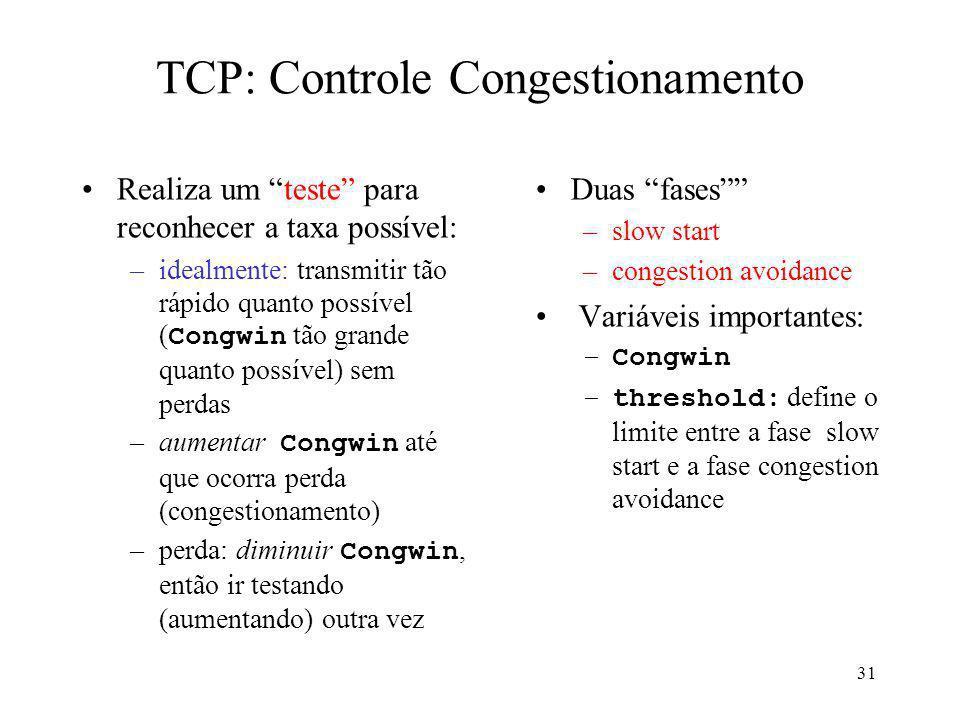 TCP: Controle Congestionamento