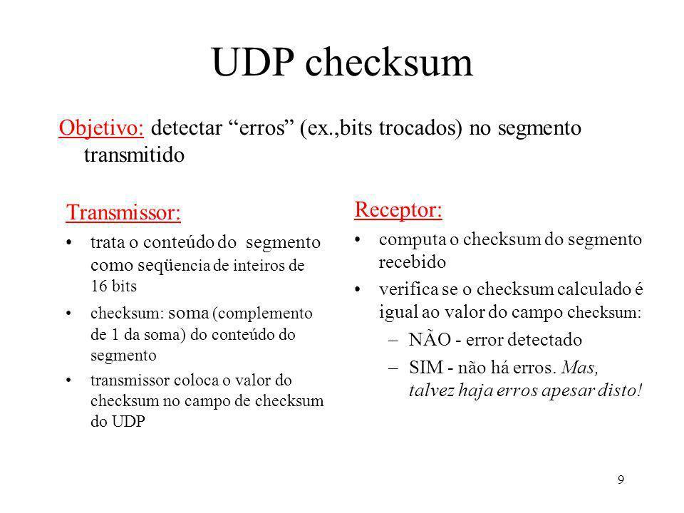 UDP checksum Objetivo: detectar erros (ex.,bits trocados) no segmento transmitido. Transmissor: