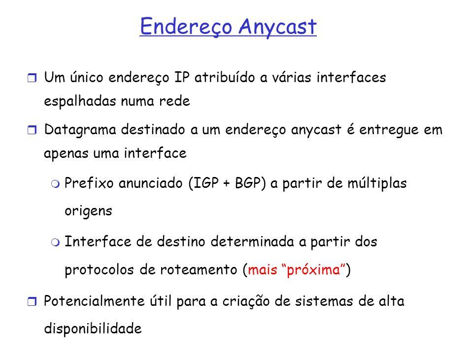 Endereço Anycast Um único endereço IP atribuído a várias interfaces espalhadas numa rede.