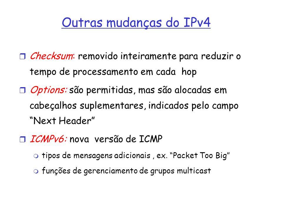 Outras mudanças do IPv4Checksum: removido inteiramente para reduzir o tempo de processamento em cada hop.
