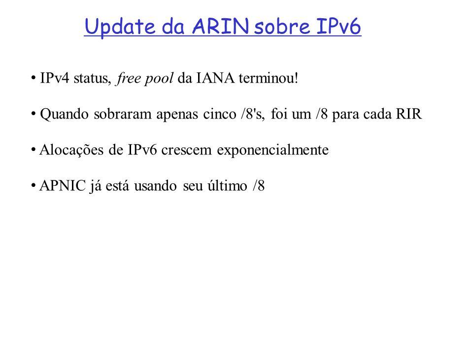 Update da ARIN sobre IPv6