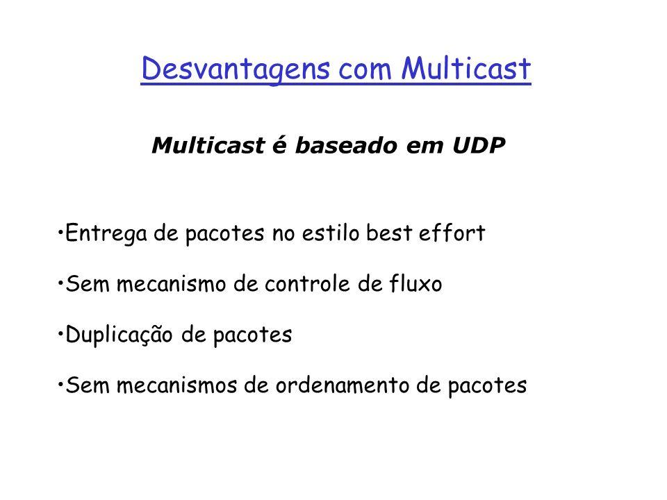 Multicast é baseado em UDP