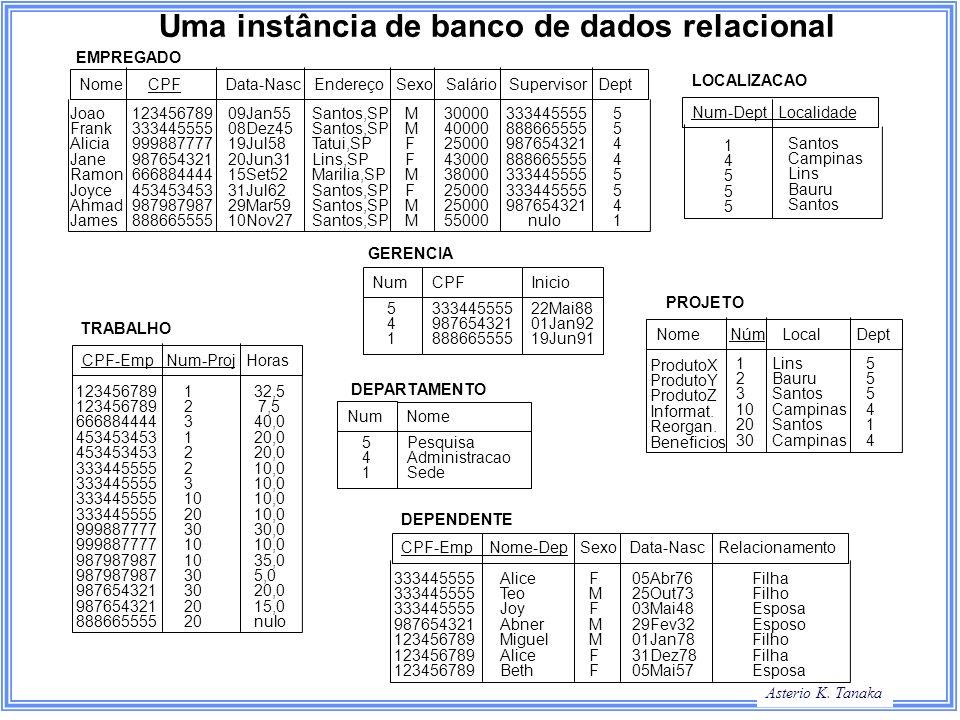 Uma instância de banco de dados relacional