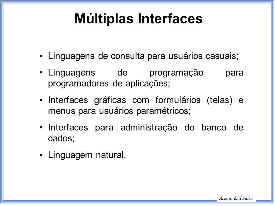 Múltiplas Interfaces Linguagens de consulta para usuários casuais;