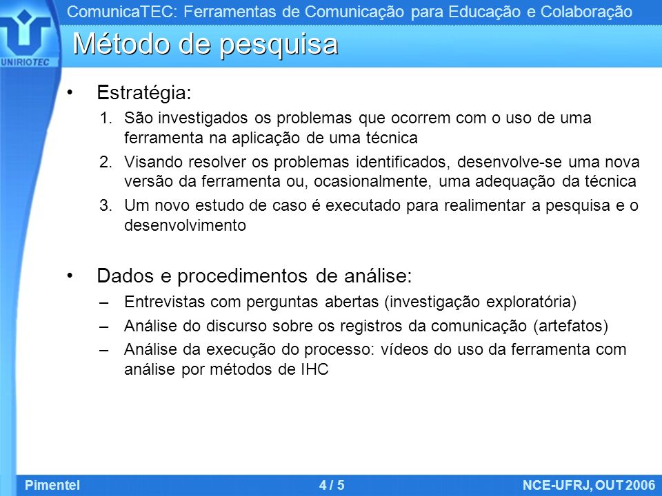 Método de pesquisa Estratégia: Dados e procedimentos de análise:
