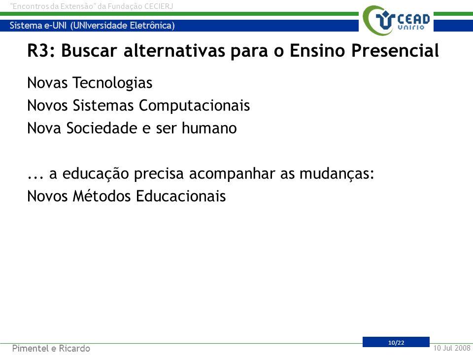 R3: Buscar alternativas para o Ensino Presencial