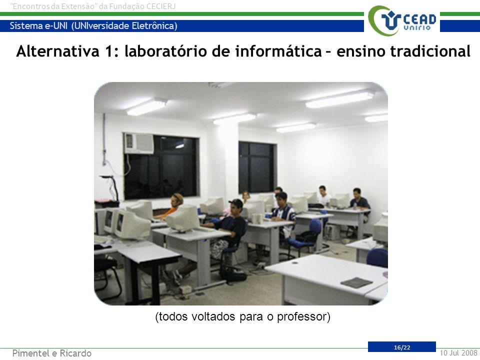 Alternativa 1: laboratório de informática – ensino tradicional