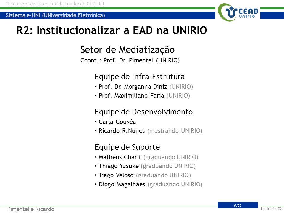 R2: Institucionalizar a EAD na UNIRIO