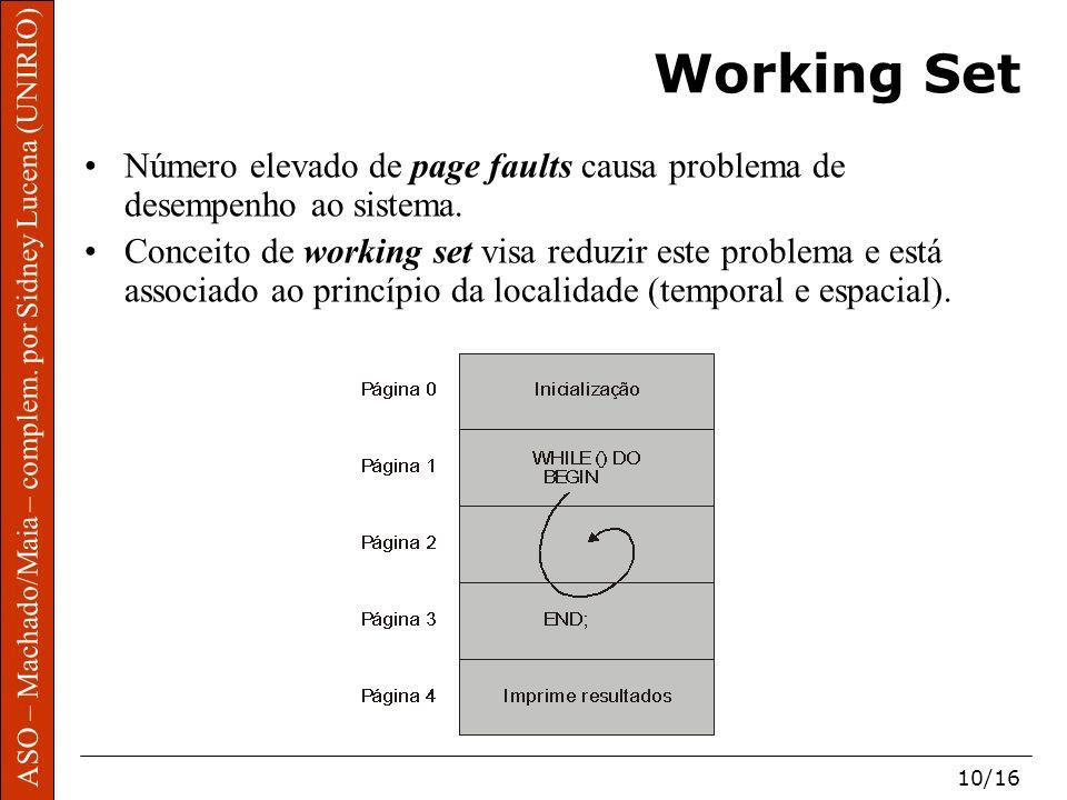 Working Set Número elevado de page faults causa problema de desempenho ao sistema.