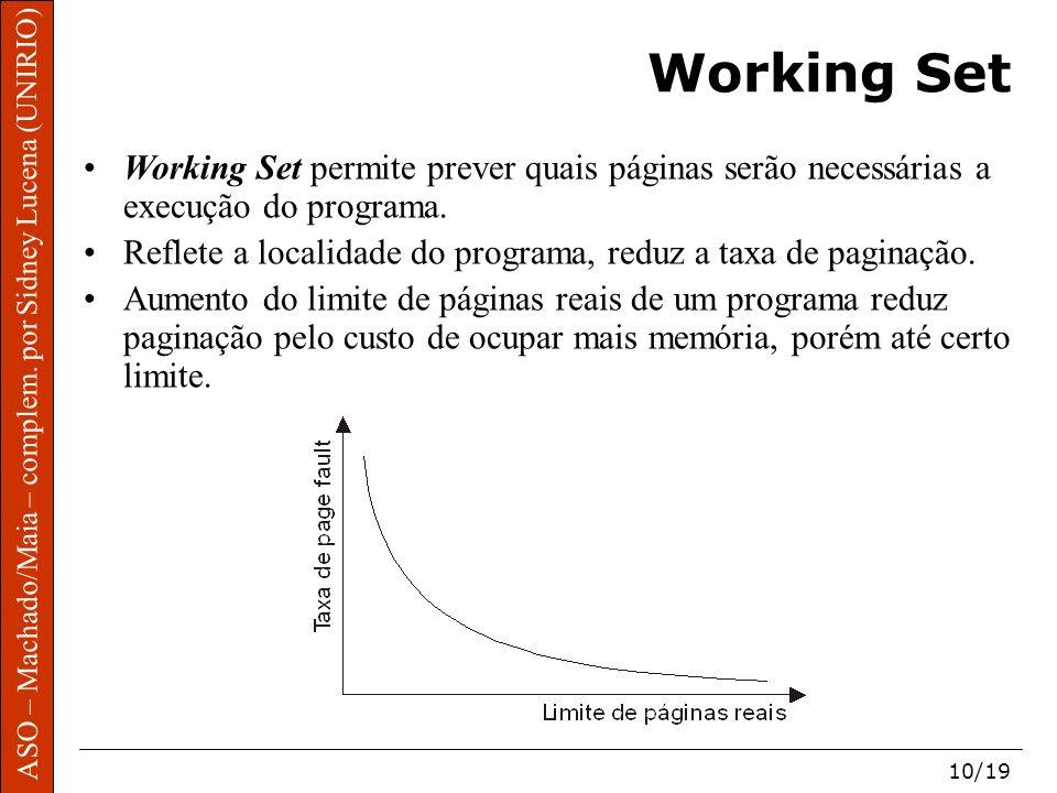 Working Set Working Set permite prever quais páginas serão necessárias a execução do programa.