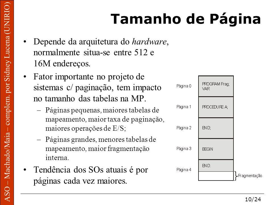 Tamanho de Página Depende da arquitetura do hardware, normalmente situa-se entre 512 e 16M endereços.