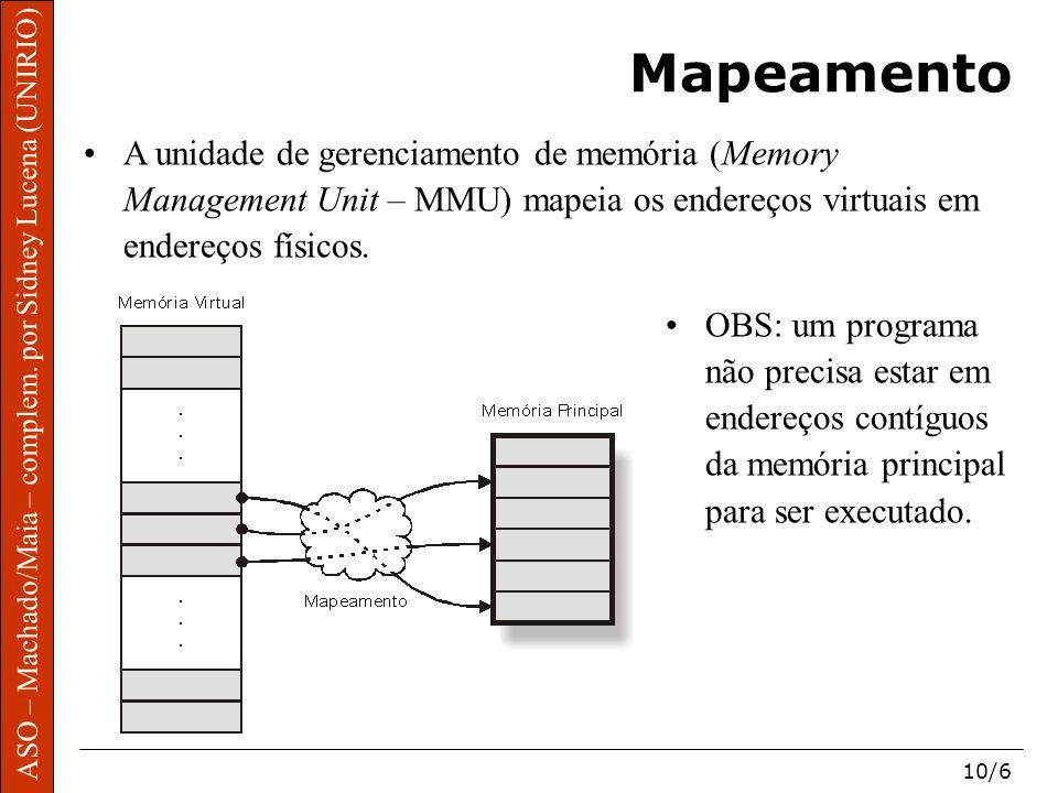 Mapeamento A unidade de gerenciamento de memória (Memory Management Unit – MMU) mapeia os endereços virtuais em endereços físicos.