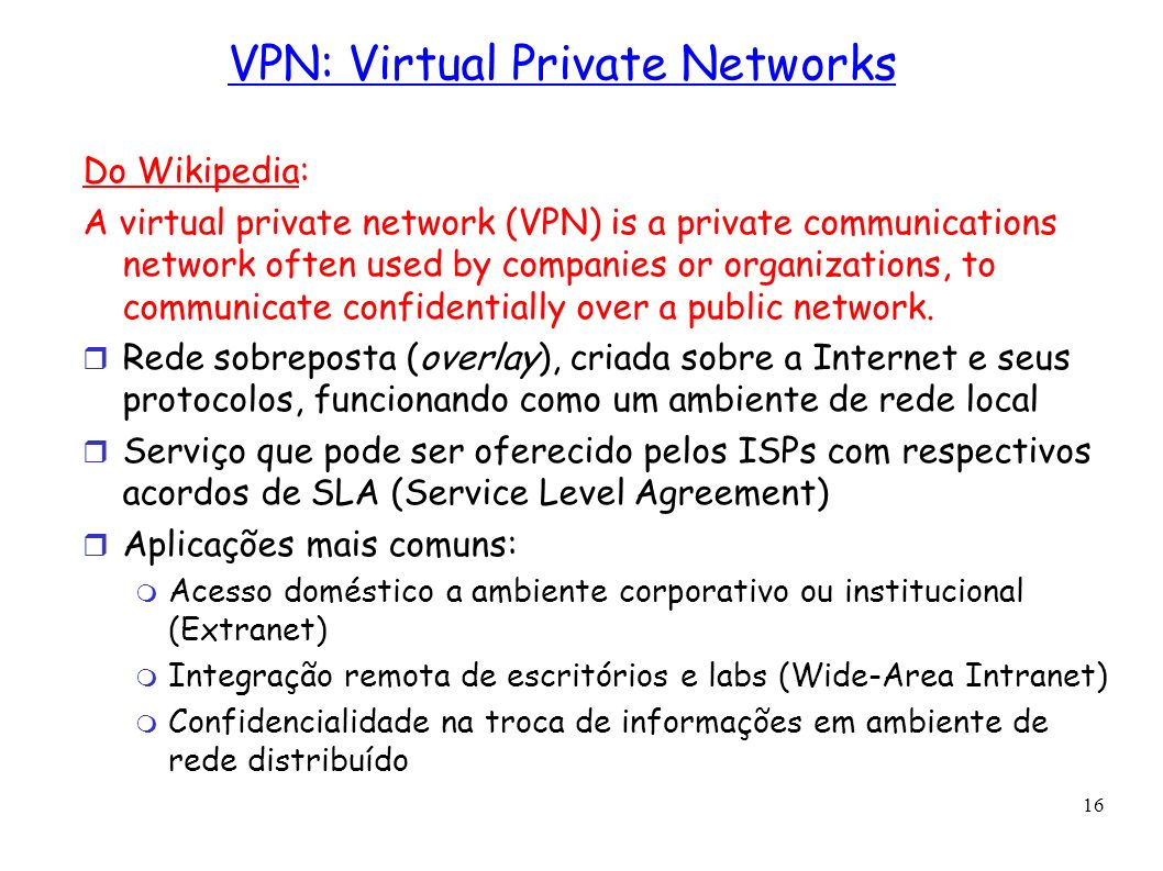VPN: Virtual Private Networks