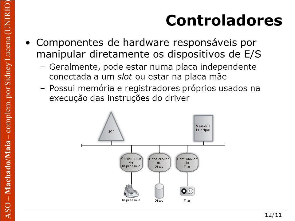Controladores Componentes de hardware responsáveis por manipular diretamente os dispositivos de E/S.