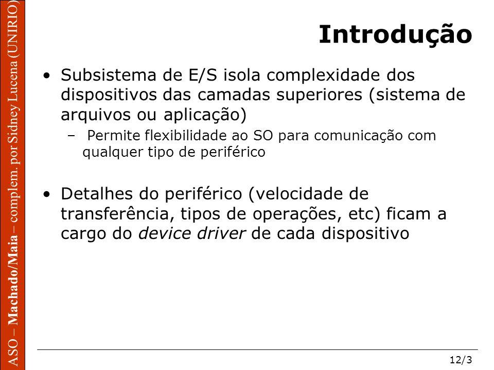 Introdução Subsistema de E/S isola complexidade dos dispositivos das camadas superiores (sistema de arquivos ou aplicação)
