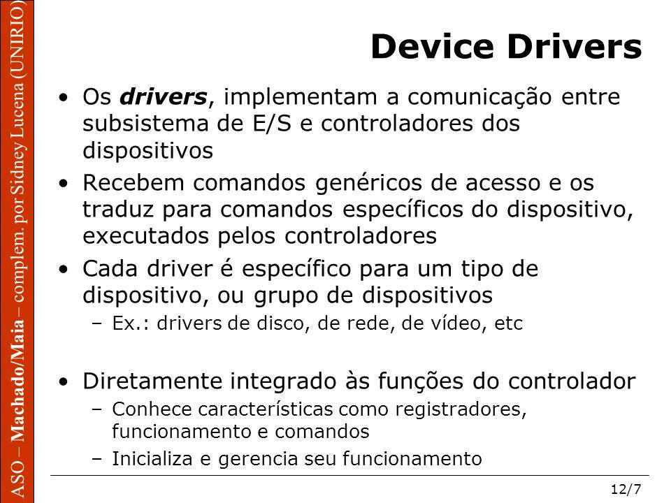 Device Drivers Os drivers, implementam a comunicação entre subsistema de E/S e controladores dos dispositivos.
