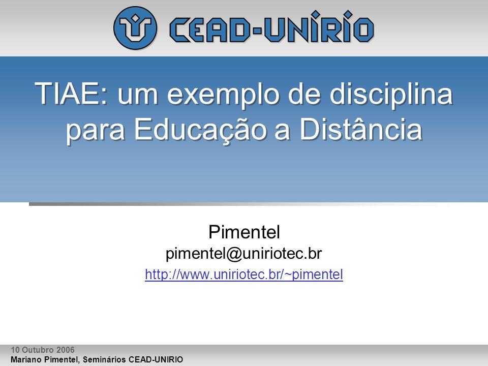 TIAE: um exemplo de disciplina para Educação a Distância
