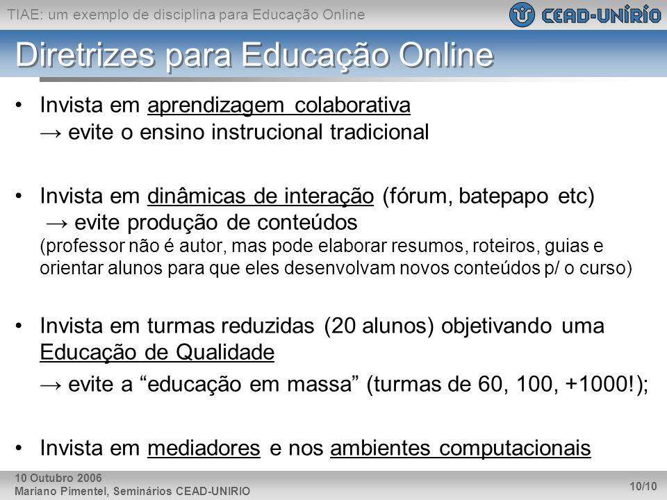 Diretrizes para Educação Online