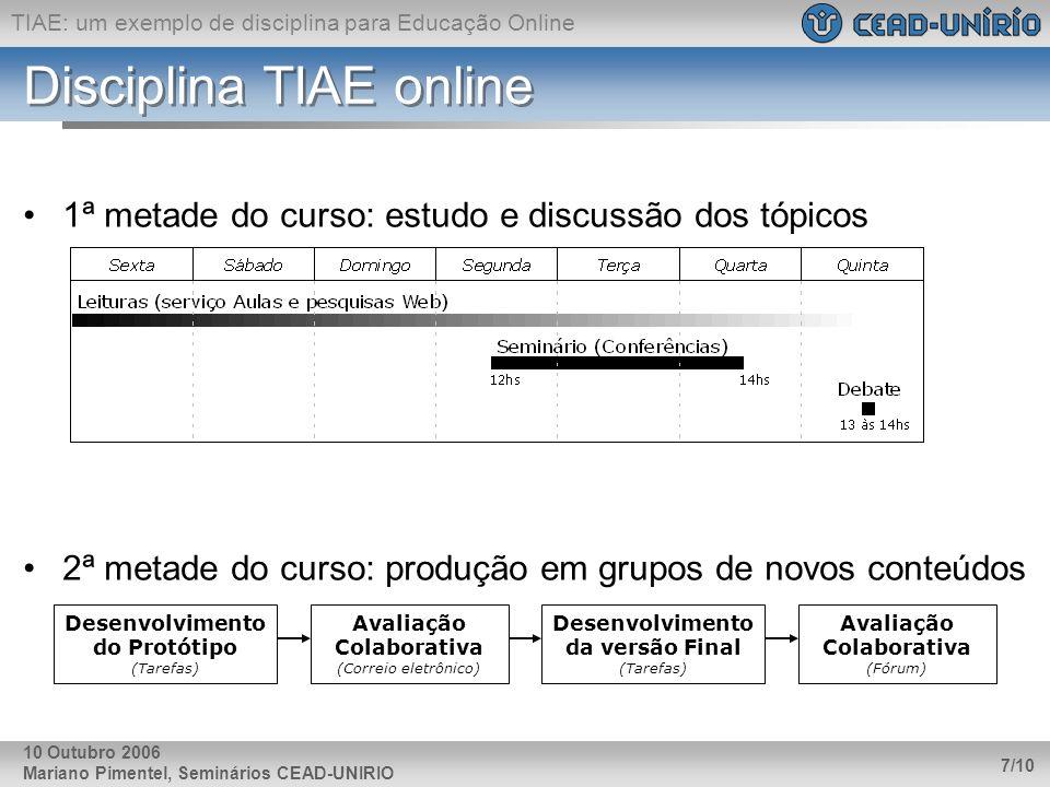 Disciplina TIAE online