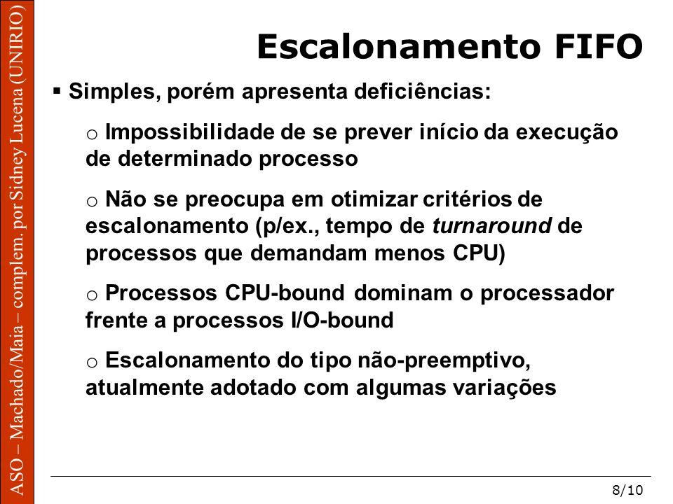 Escalonamento FIFO Simples, porém apresenta deficiências: