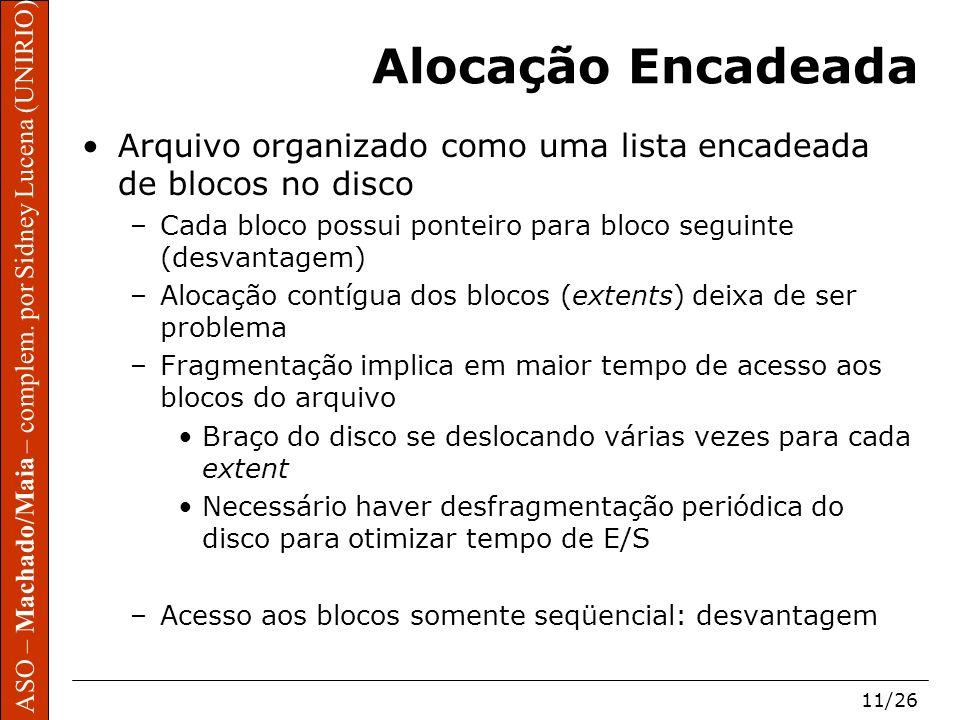 Alocação Encadeada Arquivo organizado como uma lista encadeada de blocos no disco. Cada bloco possui ponteiro para bloco seguinte (desvantagem)