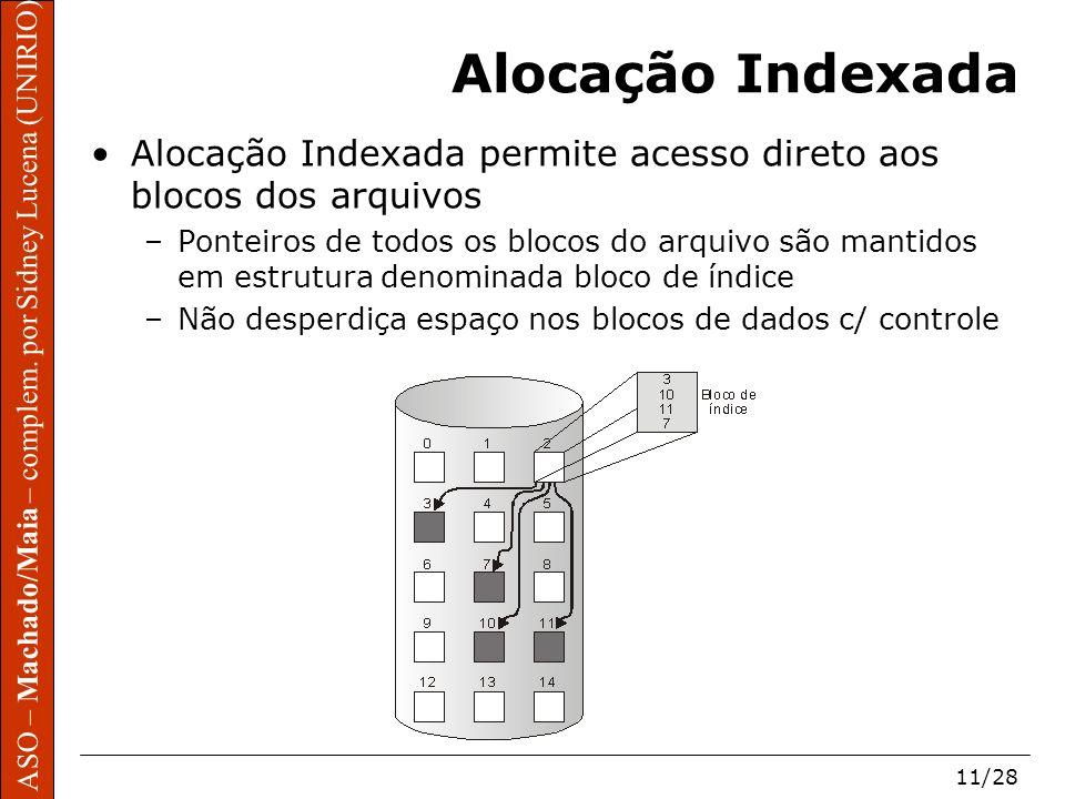 Alocação Indexada Alocação Indexada permite acesso direto aos blocos dos arquivos.