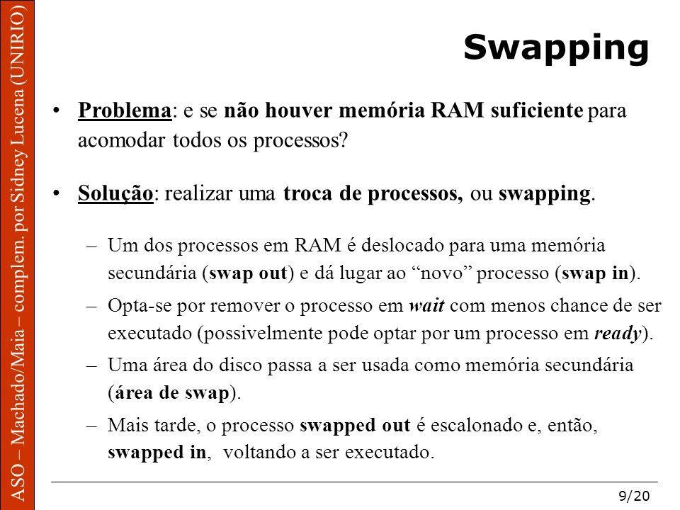 Swapping Problema: e se não houver memória RAM suficiente para acomodar todos os processos Solução: realizar uma troca de processos, ou swapping.