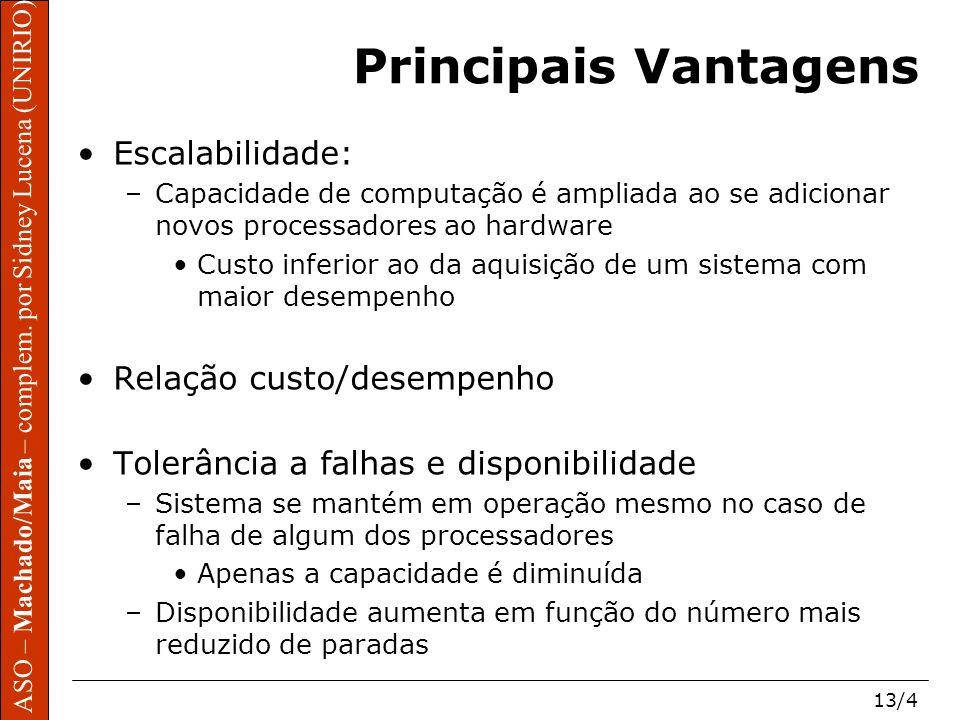 Principais Vantagens Escalabilidade: Relação custo/desempenho