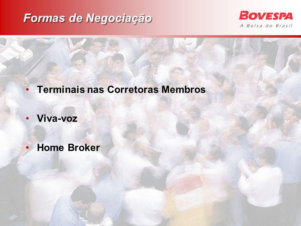 Formas de Negociação Terminais nas Corretoras Membros Viva-voz