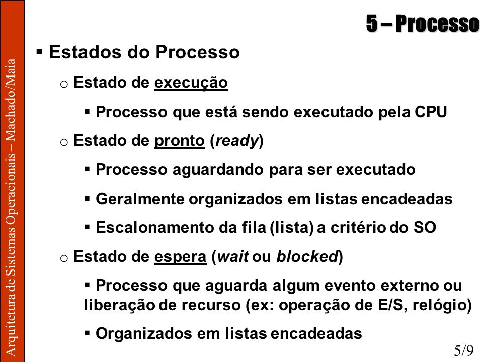 5 – Processo Estados do Processo Estado de execução