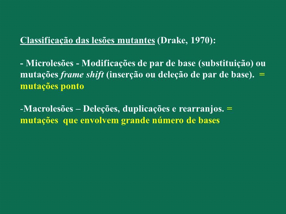 Classificação das lesões mutantes (Drake, 1970):