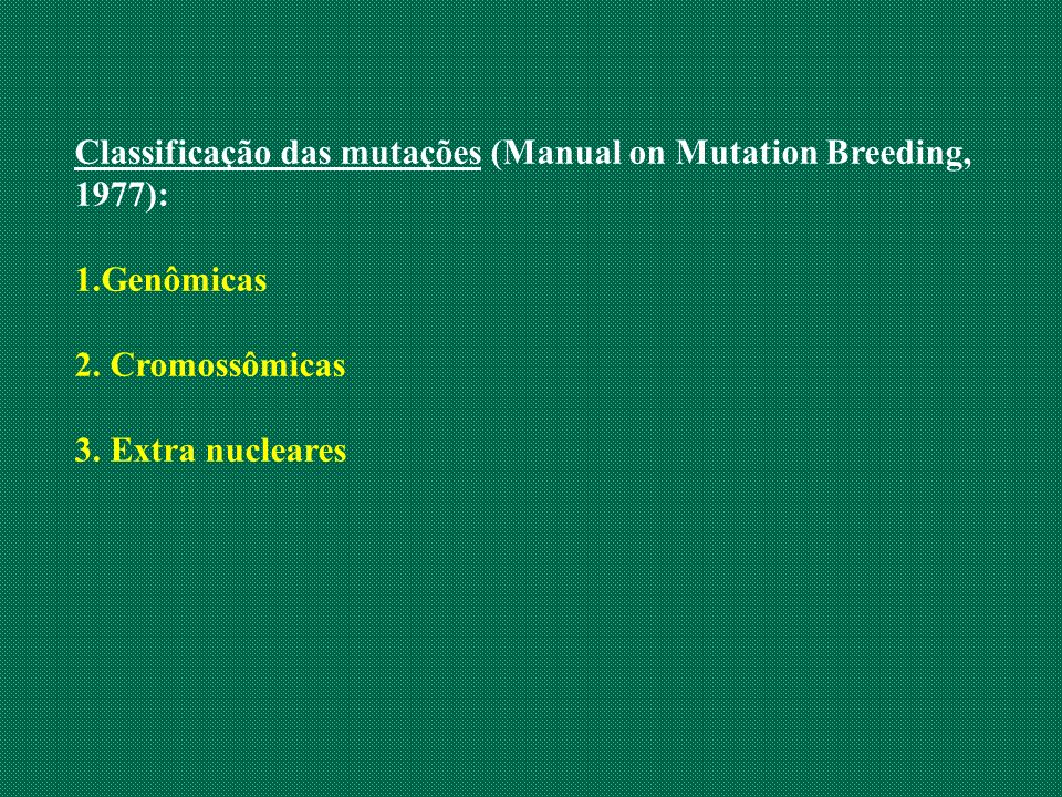 Classificação das mutações (Manual on Mutation Breeding, 1977):