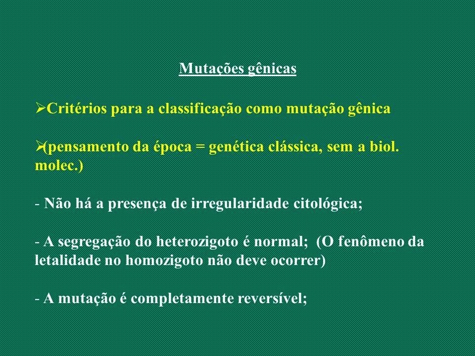 Mutações gênicas Critérios para a classificação como mutação gênica. (pensamento da época = genética clássica, sem a biol. molec.)