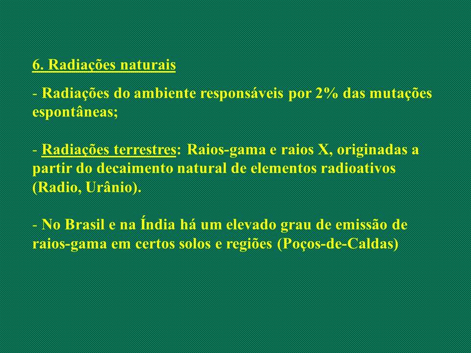 6. Radiações naturais Radiações do ambiente responsáveis por 2% das mutações espontâneas;
