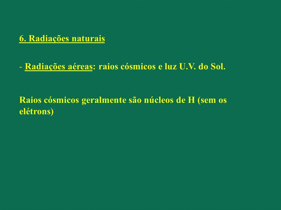 6. Radiações naturais Radiações aéreas: raios cósmicos e luz U.V.