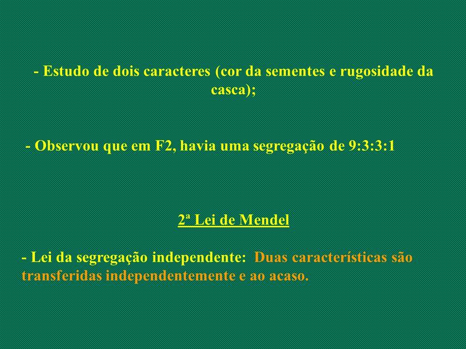 - Estudo de dois caracteres (cor da sementes e rugosidade da casca);