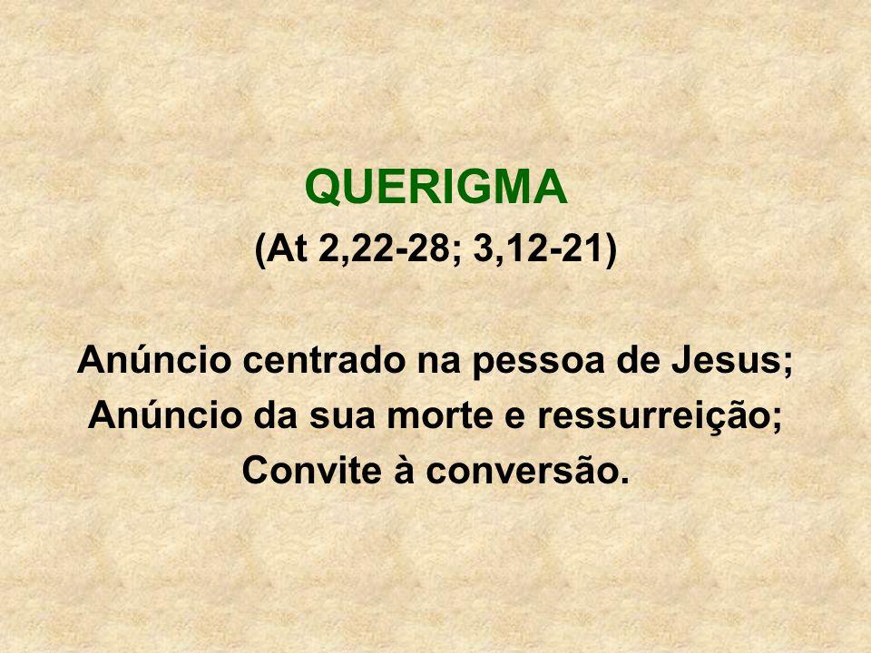 QUERIGMA (At 2,22-28; 3,12-21) Anúncio centrado na pessoa de Jesus;