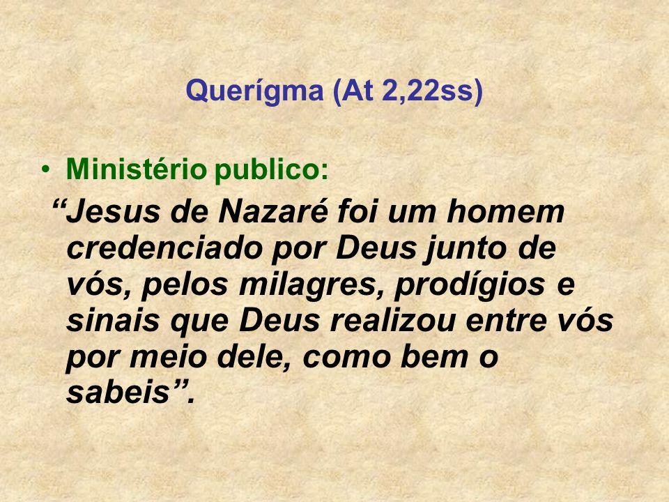 Querígma (At 2,22ss) Ministério publico: