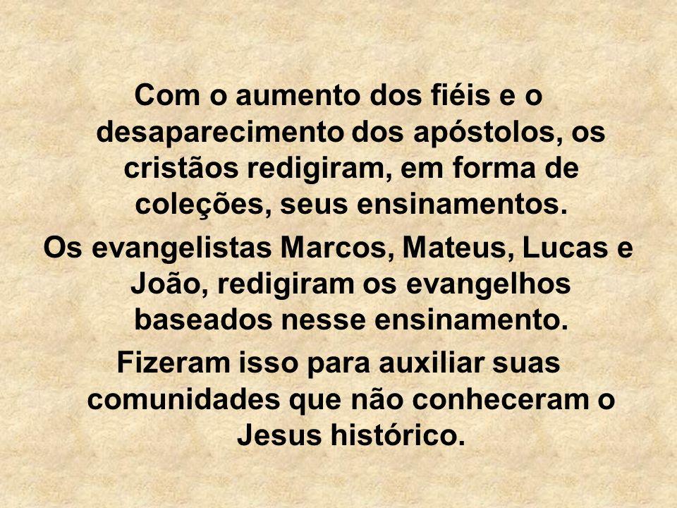 Com o aumento dos fiéis e o desaparecimento dos apóstolos, os cristãos redigiram, em forma de coleções, seus ensinamentos.