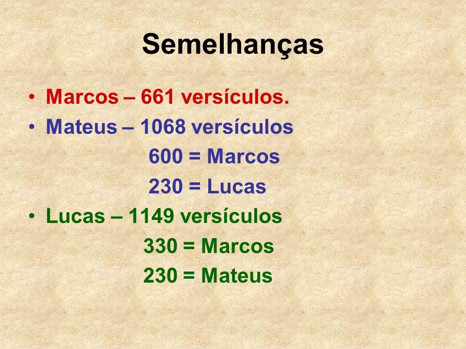 Semelhanças Marcos – 661 versículos. Mateus – 1068 versículos