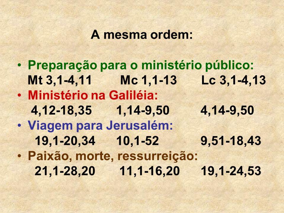 A mesma ordem: Preparação para o ministério público: Mt 3,1-4,11 Mc 1,1-13 Lc 3,1-4,13.
