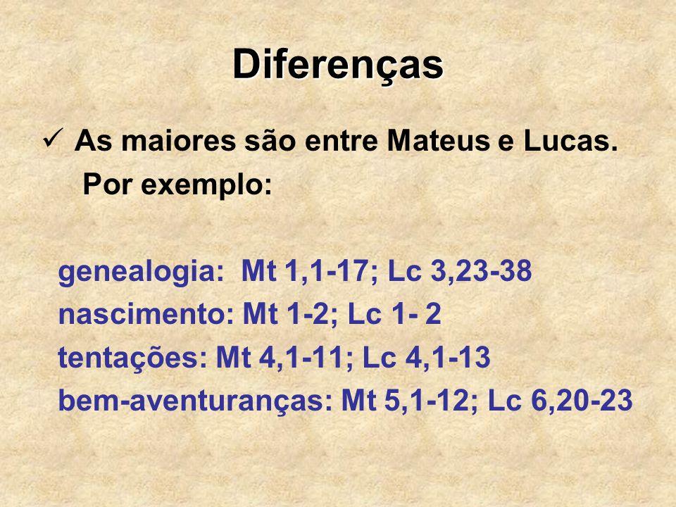 Diferenças As maiores são entre Mateus e Lucas. Por exemplo: