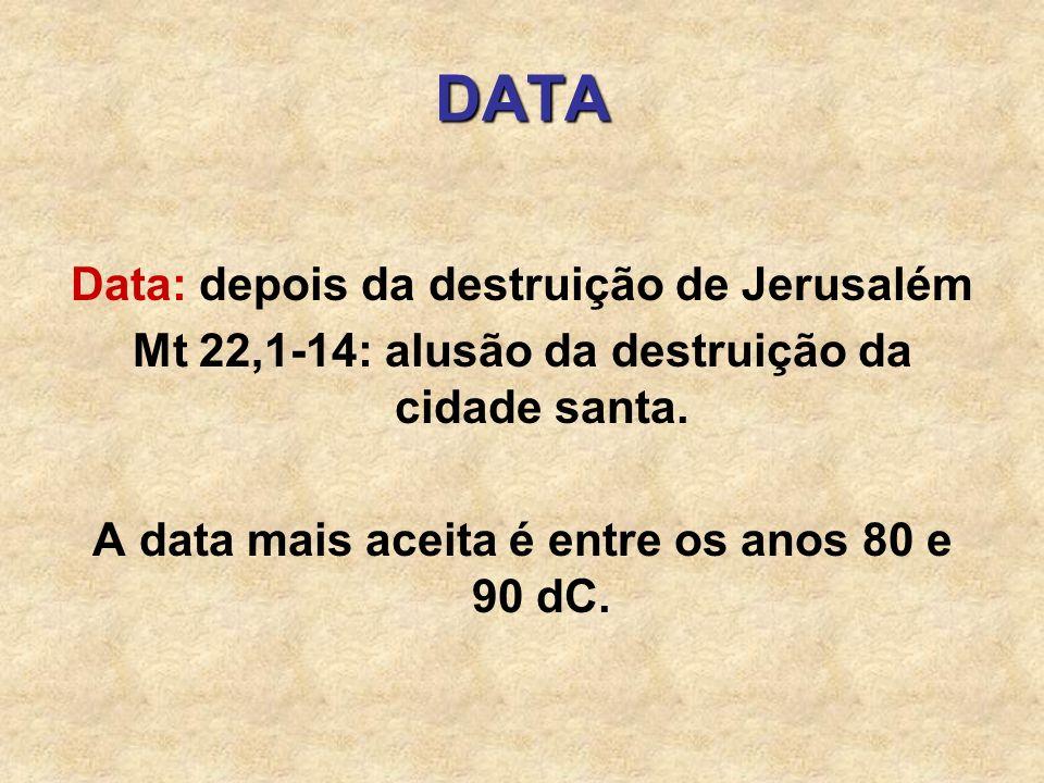 DATA Data: depois da destruição de Jerusalém