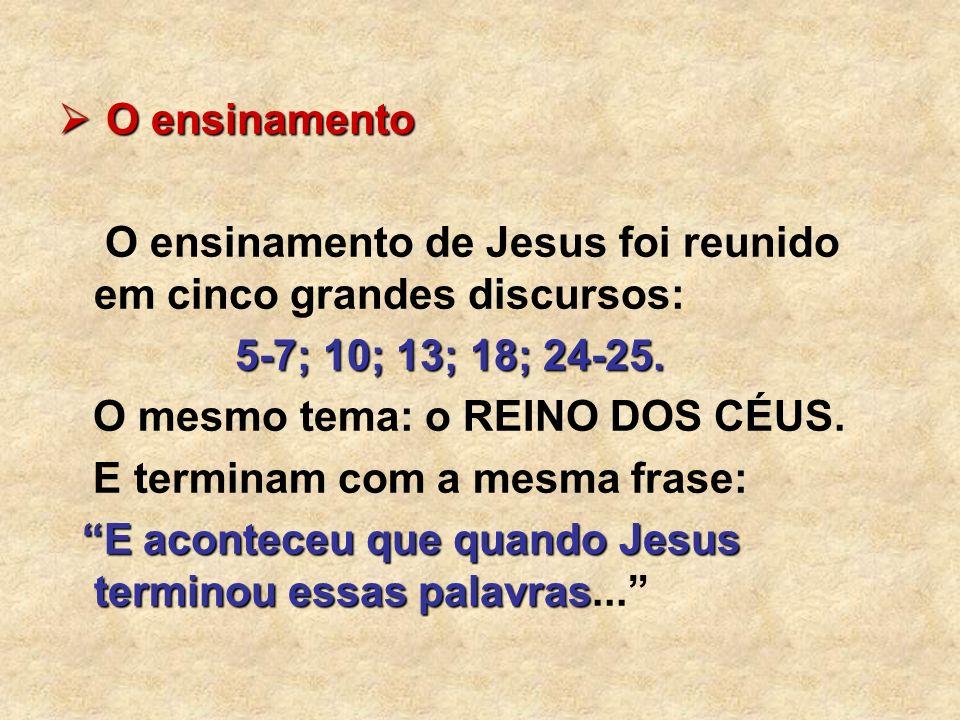O ensinamento O ensinamento de Jesus foi reunido em cinco grandes discursos: 5-7; 10; 13; 18; 24-25.