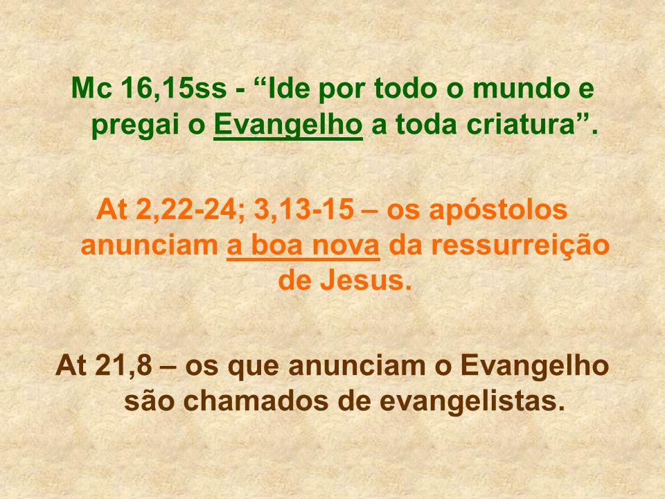 At 21,8 – os que anunciam o Evangelho são chamados de evangelistas.
